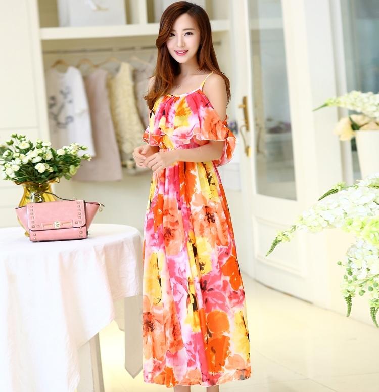 ชุดไปเที่ยวทะเล เดรสยาวโทนสีส้มลายดอกไม้ สายเดี่ยว อกแต่งระบาย แขนคล้อง ผ้าชีฟอง สวยๆ สวมใส่สบายๆ
