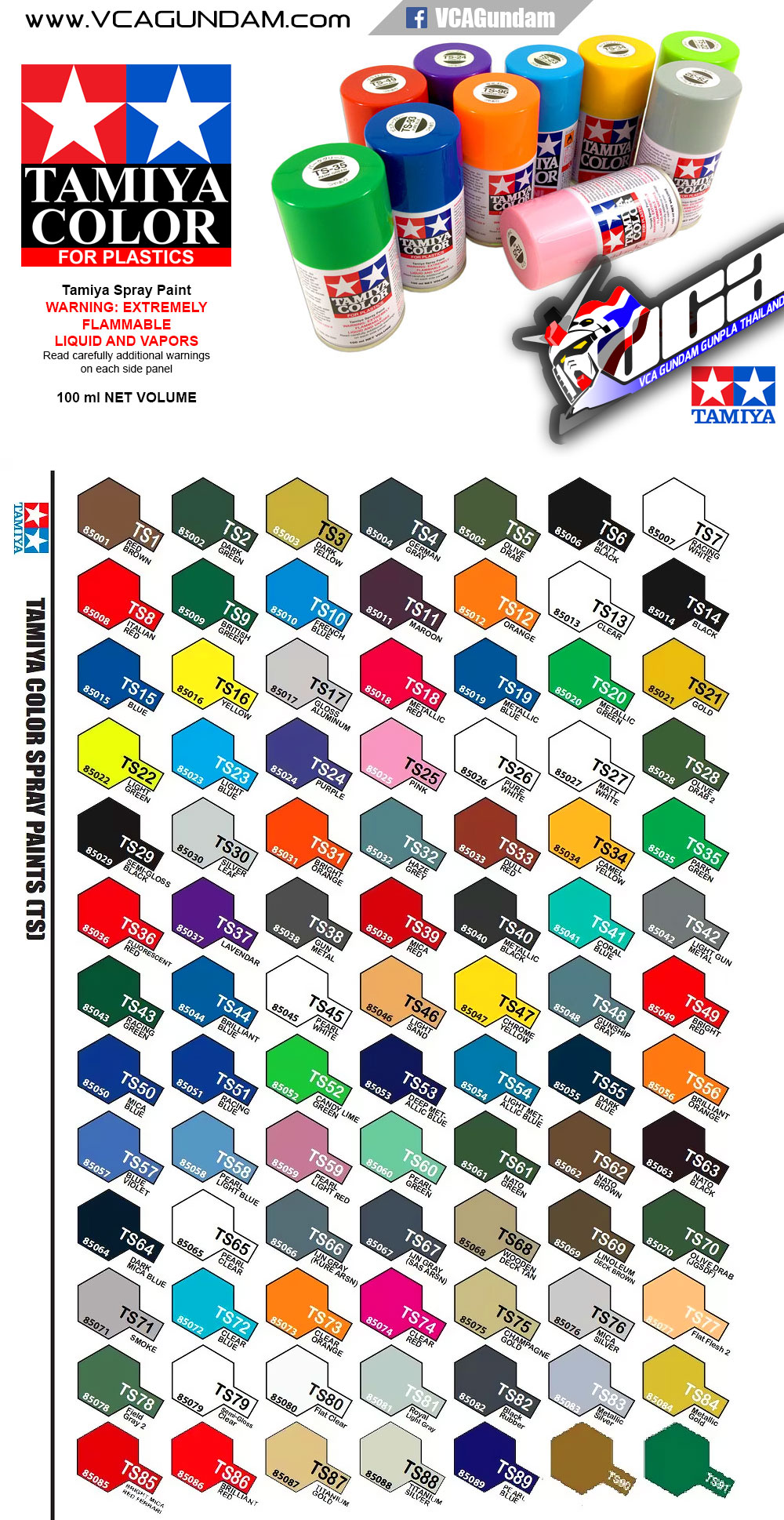 TAMIYA SPRAY PAINT Color Chart