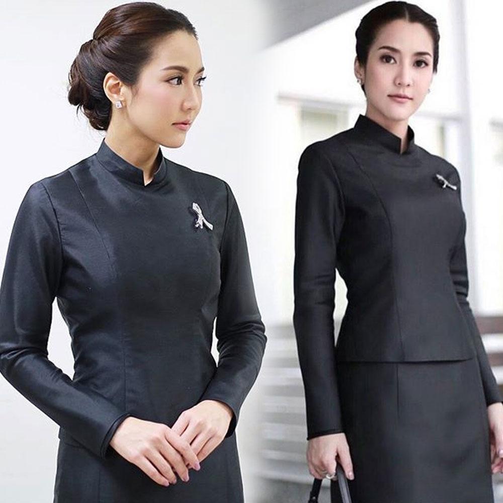 ชุดไทยบรมพิมาน ซิปหลัง แบบคุณจั๊กจั่น ผ้าไหมเทียม ทรงสวย สง่า ดูดี