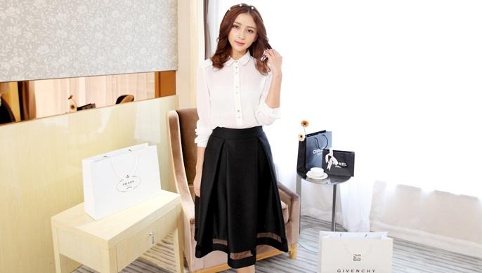 กระโปรงทำงานสีดำ จับจีบทวิส ผ้าค๊อตตอลเนื้อผ้ามีน้ำหนัก ซิปหลัง M L XL