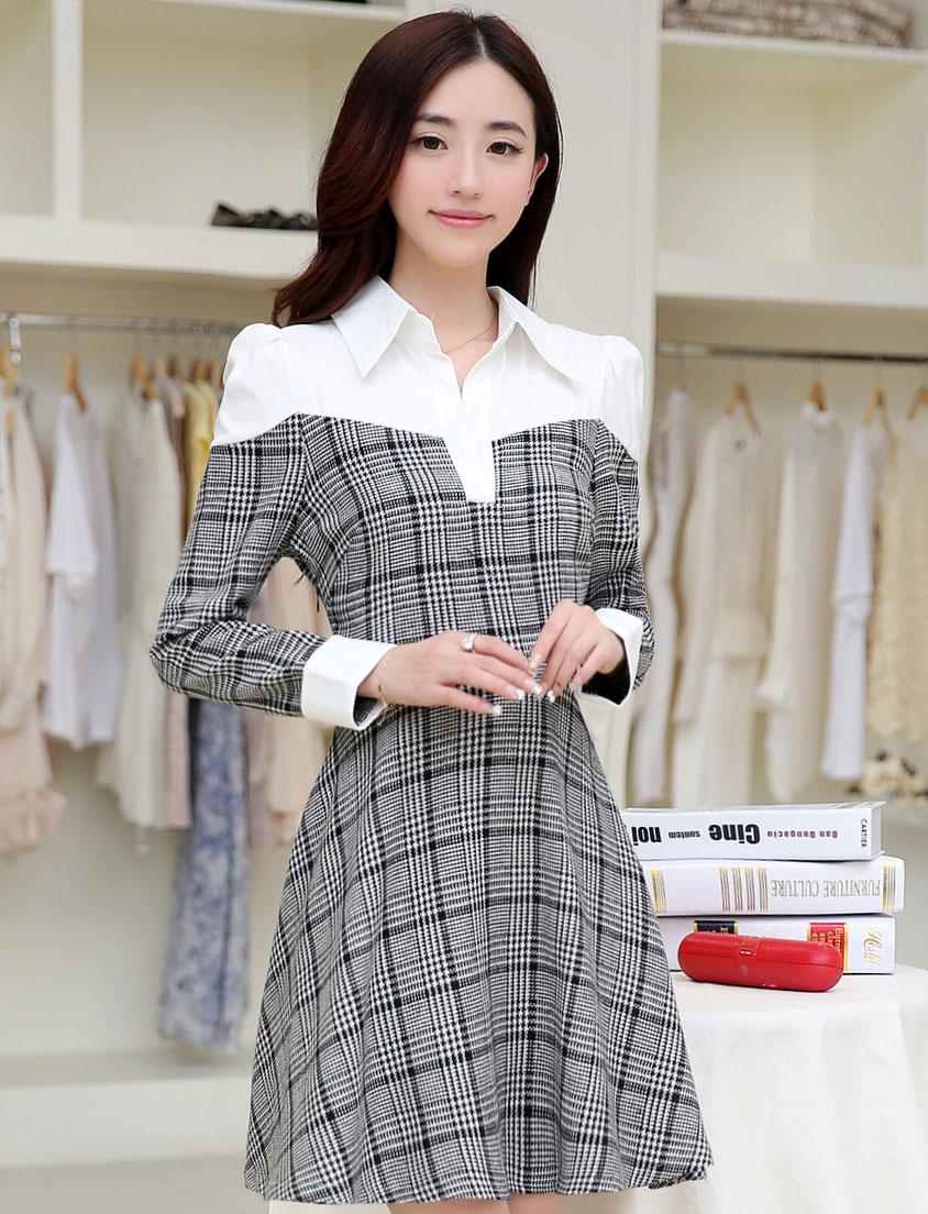 ชุดเดรสทำงานสวยๆ เรียบหรู น่ารัก แฟชั่นสไตล์เกาหลี สีเทาลายสก๊อต ดีไซส์เก๋ๆ คอปก ไหล่สีขาว แขนยาว เอวเข้ารูปซิปข้าง ผ้าคอตตอน