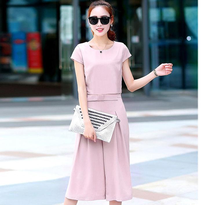 ชุดเซ็ท 2 ชิ้นเข้าชุดสีชมพูสวยๆ เสื้อแขนสั้น+กางเกงขากว้าง