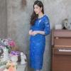 ชุดออกงานสีน้ำเงิน ทรงเข้ารูป แขนสามส่วน ผ้าลูกไม้ ลุคสวยหรู สง่า ดูดี สำหรับใส่เป็นชุดออกงาน ชุดไปงานแต่งงาน