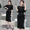 ชุดเซ็ทเสื้อกระโปรงสีดำแนวเรียบ สวย ดูดี ผ้าชีฟองอัดพลีททั้งชุด แฟชั่นเกาหลี สวย ดูดี
