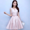 ชุดราตรีสั้นสีชมพู คอกลมวี แขนกุด กระโปรงทรงบาน แนวชุดออกงานเรียบหรู สวยหวาน ดูดี ราคาไม่แพง