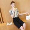 ชุดเซ็ทแฟชั่นโทนสีดำ ขาว เสื้อลายขวาง + กางเกงขากว้าง