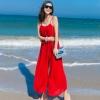 ชุดเดรสกางเกงขายาวสีแดง เปิดหลัง สายเดี่ยว ผ้าชีฟอง แฟชั่นเที่ยวทะเลสวยๆ