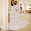 ชุดเดรสยาวสีขาว พิมพ์ลายน่ารักๆ ทรงสวย น่ารัก ดูใสใส ดีไซน์เก๋เก๋