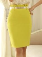 กระโปรงทำงานสั้นสีเหลือง ทรงเอ เข้ารูป ผ้าสเปนเด็กซ์มีซับใน เอวสูงจับจีบ ซิปหลัง พร้อมเข็มขัด