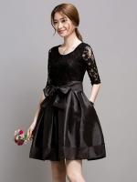 ชุดเดรสสั้นสีดำ ผ้าลูกไม้ผสมผ้าไหมเกาหลี แขนยาว ลุคเรียบๆ สวยน่ารัก
