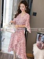 ชุดเดรสสั้นสีชมพูลายดอกไม้ ( สินค้าพร้อมส่ง : S M L XL )