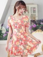 ชุดเดรสสั้นสีส้มลายดอกไม้ สวย น่ารัก แนววินเทจย้อนยุค