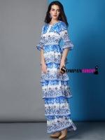 ชุดเดรสยาวสีน้ำเงิน พิมพ์ลายสวยเก๋ กระโปรงระบายเป็นชั้นๆ ชุดเดรสคนอ้วนไซส์ใหญ่