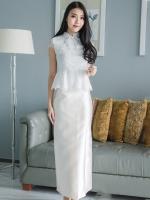 ชุดออกงานแบบไทยประยุกต์ เซ็ทเสื้อลูกไม้แขนสั้น + กระโปรงยาว : พร้อมส่ง XL ,2XL , 3XL