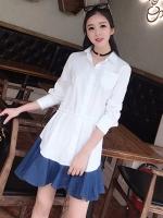 ชุดเดรสสั้นสีขาว คอเชิ้ต แขนยาว สวยๆ น่ารัก แฟชั่นสไตล์เกาหลี