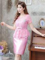 ชุดออกงาน ชุดไปงานแต่งงานสีชมพู เซตเสื้อลูกไม้แขนสั้นเอวระบาย + กระโปรงทรงเอผ้าไหมซาติน ลุคสวยหรู