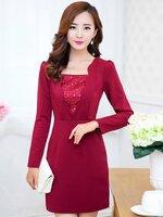 ชุดเดรสทำงานสีแดง หน้าอกแต่งดีเทจเก๋ๆ แขนยาว เข้ารูป แนวเกาหลีสวยๆ ดูดี
