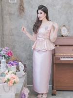 ชุดออกงานสีชมพูโกลว์ เซ็ทเสื้อ-กระโปรงยาว เรียบหรู สวยสง่า