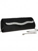 กระเป๋าคลัทช์ออกงานสีดำ ทรงยาว แต่งเพชร ถือออกงาน ไปงานแต่งงาน ลุคเรียบๆ สุดหรู สำเนา