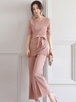 ชุดเซ็ท 2 ชิ้นสีชมพูกะปิ เสื้อ + กางเกงขายาว แนวสวยเท่ ดูดี สไตล์เกาหลี