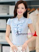 เสื้อทำงานผู้หญิงสีฟ้า ผ้าชีฟอง แขนสั้น คอเสื้อแต่งระบายน่ารักๆ