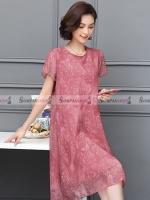 ชุดเดรสสั้นสีแดง ทรงปล่อย ผ้าชีฟอง ลุคเรียบๆ สวยดูดี สวมใส่ได้หลายโอกาส ( สินค้าพร้อมส่ง : XL, 4XL )
