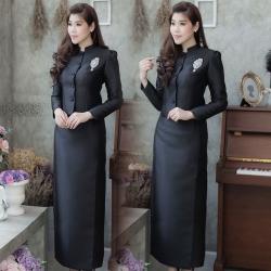 ชุดไทยจิตรลดาสีดำ ชุดถวายบังคมพระบรมศพ คุณภาพงานพรี่เมี่ยมเกรด A รับประกันคุณภาพ คุ้มราคา กระดุมหน้า ไหล่จีบ