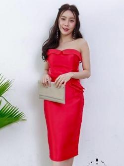 ชุดเดรสออกงานสั้นสีแดง ไปงานแต่งงาน เกาะอก ผ้าไหมเทียม ลุคสวยหรู เซ็กซี่