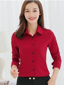 เสื้อเชิ้ตทำงานสีแดง แขนยาว