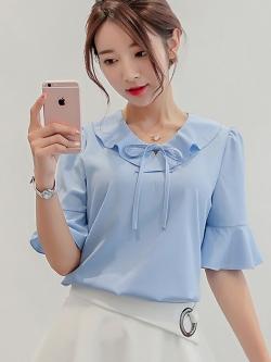 เสื้อทำงานสีฟ้า คอระบาย แขนสั้น