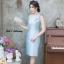 ชุดเดรสออกงานสีฟ้า ไหล่เฉียงข้าง ผ้าไหมอิตาลี สไตล์เรียบหรู สวย สง่า