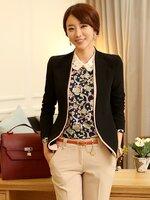 (สินค้าหมด) เสื้อสูทแฟชั่น เสื้อสูทผู้หญิง สีดำ ด้านหน้าแต่งผ้าสีชมพูไว้ด้านใน