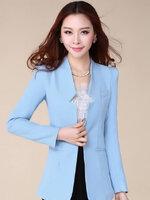 เสื้อสูทแฟชั่น เสื้อสูทผู้หญิง สีฟ้า แขนยาว แต่งเว้าที่ปกเสื้อ ตัวยาวคลุมสะโพก