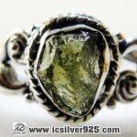 ▽สะเก็ดดาวโมดาไวท์ MOLDAVITE -แหวนเงินแท้ 925 (ขนาดแหวนเบอร์ : 59)