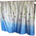 ผ้าม่านคู่ Twin ลายดอกปุยวิ้ง สีฟ้า (Curtain-t 1)