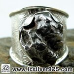 ▽Campo Del Cielo Meteorite แหวนเงินแท้ 925 (แหวนเบอร์ : 57 ,10.4g)