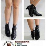 ((ขายแล้วค่า))b-422 รองเท้าบูทหนังเเท้สีดำไซส์38
