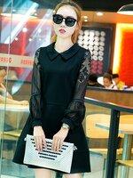 ชุดเดรสสั้นสีดำ คอปก แขนลูกไม้ สไตล์เกาหลี สวยๆ น่ารัก