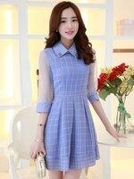 ชุดเดรสสั้นสีม่วงพิมพ์ลายตาราง สวย น่ารัก สไตล์เกาหลี