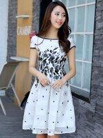ชุดเดรสทำงานสีขาว ลายดอกไม้ มีแขน ลุคสวย น่ารัก แฟชั่นเกาหลี สไตล์สาวออฟฟิศ