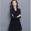 ชุดเดรสทำงานสีดำ คอวี แขนยาว กระโปรงทรงบาน สวยหวาน สวมใส่สบาย
