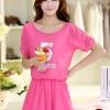 ชุดเดรสสั้นน่ารักๆ สีชมพู ผ้าชีฟอง สกรีนตัวเลข คอกลม เอวยืด ซับใน ขนาดไซส์ XL