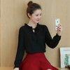 เสื้อทำงานสีดำ ผ้าชีฟอง แขนยาว คอจีบ มีเชือกผูกโบว์น่ารักๆ