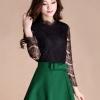 กระโปรงสั้นสีเขียวแฟชั่นเกาหลีน่ารักๆ เอวแต่งโบว์ ผ้าโพลีเอสเตอร์เนื้อผ้าหนานุ่มมีน้ำหนัก ซิปหลัง