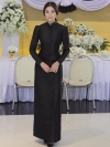 ชุดไทยจิตรลดาสีดำ แบบกระดุมหน้า ไหล่จีบ อยู่ทรงสวย พร้อมส่ง