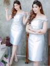 ชุดออกงาน ชุดไปงานแต่งงานสีฟ้า เข้ารูป เปิดไหล่ ผ้าไหมอิตาลี แนวหวานๆ สวยหรู ดูดี