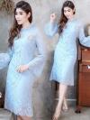 ชุดออกงาน/ชุดไปงานแต่งงานสีฟ้า เดรสสวยหรู ผ้าลูกไม้ แขนระบาย