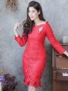 ชุดออกงาน/ชุดไปงานแต่งงานสีแดง คอปาด แขนยาว ทรงเข้ารูป ลุคเรียบๆ สวยหรู สง่า