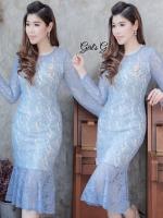 แฟชั่นชุดออกงาน/ชุดไปงานแต่งงานสีฟ้า เดรสเข้ารูปทรงหางปลา แขนยาว ลุคเรียบหรู สวยสง่า ดูดี ดูแพง