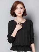 เสื้อทำงานสีดำ คอกลม แขนยาว เอวจั๊มแต่งระบาย สวย น่ารักๆ
